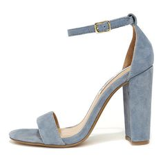 Steve Madden Carrson Blue Suede Leather Ankle Strap Heels ($89) ❤ liked on Polyvore featuring shoes, pumps, blue, steve-madden shoes, blue ankle strap shoes, suede shoes, blue pumps and ankle wrap shoes