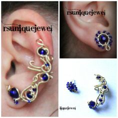 Wire Wrapped Royal Blue Ear Cuff Set by rsuniquejewel on Etsy, $25.00