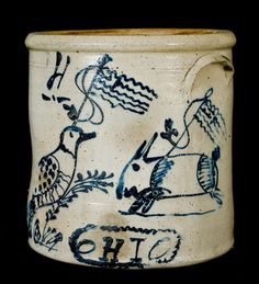 $11,500  Ohio Stoneware Patriotic Crock w/ Rabbit and Bird Decorations