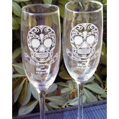 Sugar Skull Champagne Toasting Flutes  For the perfect touch for your Autumn, Halloween, or biker themed wedding. They feature an intricately designed skull. You can personalize these flutes with your names and wedding date!