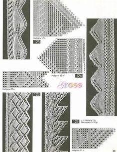 Кружева, кайма, мережка спицами. Образцы и схемы вязки. Схемы вязания. Узоры вязания кружев на спицах