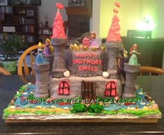 Pretty Princess Castle Cake... This website is the Pinterest of birthday cake ideas
