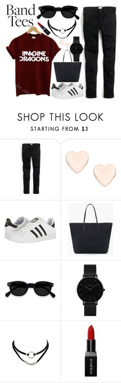 """""""I'm With the Band: Band T-Shirts"""" by basmahahmed ❤ liked on Polyvore featuring J.Crew, Ted Baker, adidas, Chico's, CLUSE and Smashbox"""