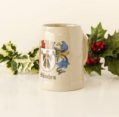 Vintage Stoneware Beer Mug Munchen Monk 1980s