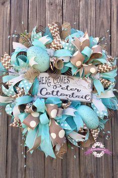 Peter Cottontail~ Bunny Spring Aqua Blue Wreath. #easterwreaths #springwreaths #easterdecor #springdecor
