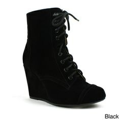 Mark & Maddux Women's 'Stana-07' Stitched Lace-up Wedge Booties | Overstock.com