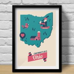 Try travel-inspired art! Ohio Pride Map from ConsiderGraphics