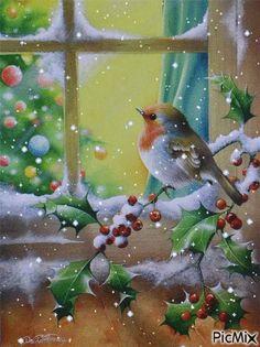 Good morning sister and yours, happy Sunday, God bless ☕❤ Winter Wonderland Christmas, Christmas Bird, Christmas Scenes, Vintage Christmas Cards, Winter Christmas, Merry Christmas, Beautiful Gif, Beautiful Birds, Gifs