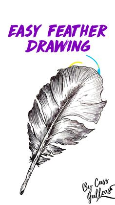 Easy Feather Drawing, Feather Drawing. How To Draw. Tutorial Step By Step.