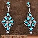 Sterling Silver Turquoise Jewelry Zuni Native American Earrings