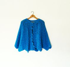 Electric Blue Vintage Shawl / Teal Crocheted Vintage Wrap / Cozy Vintage Shawl / Bright Blue Shawl