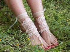 ücretsiz gemi ---- pembe dantel sandalet gelinlik halhal, gelinlik dantel halhal Sahil düğün yalınayak sandalet, halhal, halhal düğün, gelin