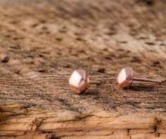 SALE Rose Gold Pebble Earrings Gold nugget by thalassajewelry