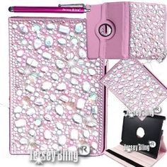 "Amazon.com : New! Pink! or PURPLE! BLING!!! With HUGE 3D Gems, Stones, & Faux Pearls, Jersey Bling Crystal & Rhinestone Leather Folio with 360 Rotating Case Cover Protector for Ipad Mini Bundle with FREE 4"" Metallic Stylus & Mini Stylus Dust Plug (Pink 3D Bling) : Touch Screen Tablet Computer Accessory Bundles : Computers & Accessories"