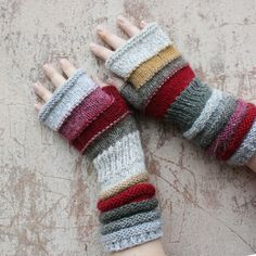 Flea Market Unmatched Hand Knit Wrist Warmers Fingerless Mittens in upcycled wool and kid mohair