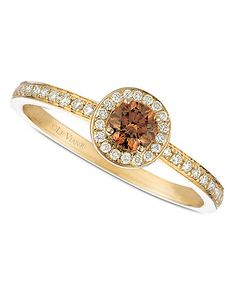 Le Vian 14k Gold Ring, Chocolate and White Diamond Circle (3/8 ct. t.w.)  Web ID: 501342