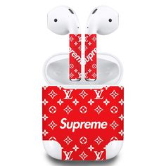 Premium Vinyl Skin Sticker Compatible with Apple Airpods Supreme Brand, Snoopy, Apple, Stickers, Christmas Ornaments, Holiday Decor, Apple Fruit, Christmas Jewelry, Christmas Decorations