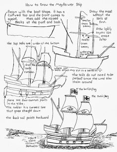 How to Draw the Mayflower Pilgrim Ship Worksheet (How to Draw Worksheets for Young Artist) Drawing Lessons, Drawing Techniques, Art Lessons, Ship Drawing, Painting & Drawing, Art Sketches, Art Drawings, Moe Manga, Art Worksheets