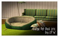 Large Pet Bed (Advent Day Nine) Ever wanted a different sort of pet bed for your doggos and/or small horses and/or large goats? Well, here's the answer! A functional pet bed in three colours from. Large Pet Beds, Large Dogs, Outdoor Sofa, Outdoor Furniture, Outdoor Decor, The Sims 2, Sims 3, Sims 2 Pets, Produce Displays