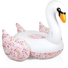 Sunnylife Liberty Flowers Giant Inflatable Swan ($80) ❤ liked on Polyvore featuring beach, filler and white pattern