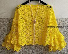 Crochet clothes 456059899767641834 - Source by glorisro Crochet Shawl Diagram, Crochet Stitches, Mode Crochet, Crochet Baby, Knit Crochet, Crochet Shirt, Crochet Woman, African Attire, Diys