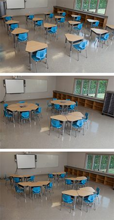 Flexible, reconfigurable learning spaces - 21st Century Classroom configuration using Diamond Desks | Smith System