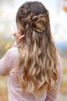 boho wedding hairstyles half up half down with flower-shaped bun braidsbyjorda #weddinghairstyleswithflowers #weddinghairstylesboho