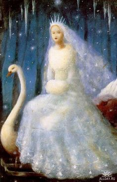 The Snow Queen ~ The original ice queen by Stephen Mackey. Fairytale Fantasies, Fairytale Art, Snow Queen, Ice Queen, Fantasy World, Fantasy Art, Stephen Mackey, Children's Book Illustration, Book Illustrations