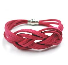 Hot Pink Faux Suede Lacing Bracelet