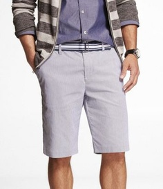 SLIM FIT BELTED STRIPED FLAT FRONT SHORTS at Express