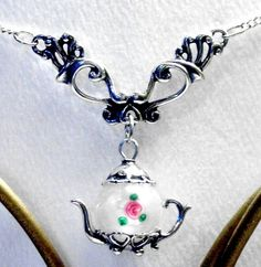 Smooth White Czech Bead Teapot Pendant Victorian Dangle Necklace