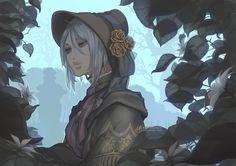 Safebooru - 1girl bloodborne bloodlinev bonnet flower from software leaf parted lips plain doll silver hair solo tree   1937169