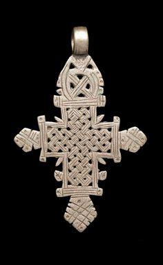 Ethiopia   Pendant cross; silver alloy, cast   Probably 18th - 20th century