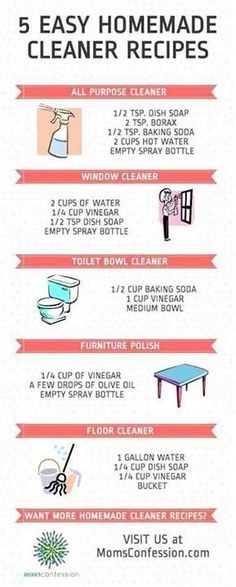 5 Easy Homemade Cleaner Recipes                                                                                                                                                      More