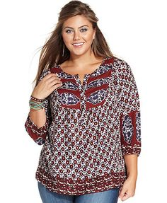 Caralyn Mirand for Lucky Brand Plus Size Printed Top
