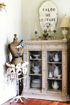 ♥ Cupboard . China Collection . French . Glass Doors . commonground-debrasvintagedesigns.blogspot.com