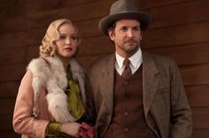 "Jennifer Lawrence and Bradley Cooper in 1920s period dress for the upcoming movie ""Serena"""