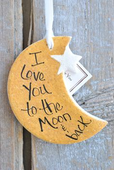 Moon and Star Salt Dough Ornament Love You to the Moon and image 2 Salt Dough Christmas Ornaments, Christmas Crafts, Christmas Decorations, Clay Ornaments, Homemade Ornaments, Homemade Christmas, Xmas, Christmas Activities, Felt Christmas