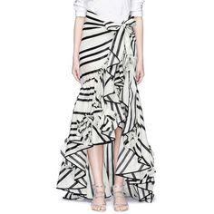 Johanna Ortiz 'Duncan' stripe cotton-silk wrap maxi skirt featuring polyvore, women's fashion, clothing, skirts, white maxi skirt, white skirt, long tiered ruffle skirt, long skirts and tiered maxi skirt