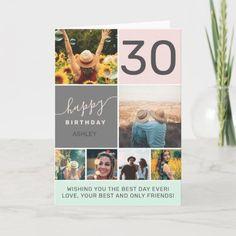 Modern 30 birthday pink 6 photo collage grid card Happy Birthday Ashley, 30th Birthday, Birthday Ideas, Surprise Birthday, Birthday Decorations, Birthday Gifts, Custom Cards, Custom Greeting Cards, Custom Postcards