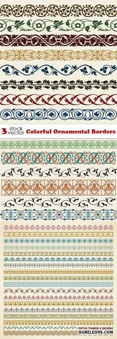 Цветные орнаментальные бордюры в векторе | Ornamental Borders vector Frame Border Design, Boarder Designs, Border Pattern, Pattern Art, Pattern Design, Carving Designs, Stencil Designs, Alpona Design, Fabric Stamping