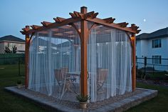 Pergola is decorative item known since ancient times. That time the pergola occupied much more important place in the courtyards than today. Pergola Curtains, Outdoor Curtains, Outdoor Pergola, Backyard Pergola, Backyard Landscaping, Hanging Curtains, Roman Curtains, Patterned Curtains, Layered Curtains