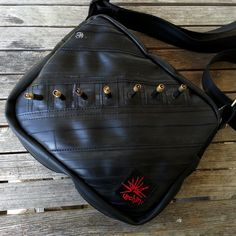 hand bag purse made with bike tubes. by urchinbags on Etsy, $92.00