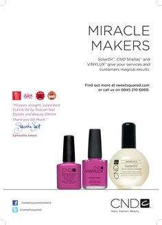 CND Miriacle Makers Nail Products, Cnd Shellac, Nails Magazine, You Nailed It, Perfume Bottles, Stylists, Beauty, Perfume Bottle