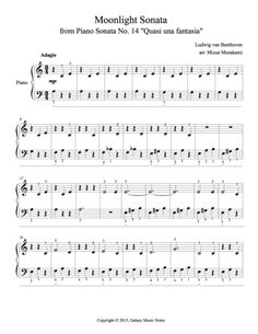 """1st page of piano sheet music for """"Moonlight Sonata"""" in Level 2 (very easy)"""
