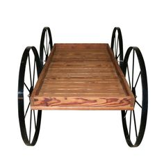 The Buckboard Cart has a simple but sturdy structure. Great for displaying anything from flowers to merchandise. This product is hand made of thermally modified wood. All metal parts are powder coated black for durability. It is equipped with 30 inch wheels that are easily moveable.