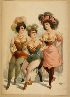 vintage drawing 3 dancehall girls corset circus performers View all sizes View sl. Vegas Showgirl, Cabaret, Belle Epoque, Burlesque Vintage, Vintage Circus Costume, Vintage Circus Performers, Vintage Costumes, Fashion Show Poster, Collateral Beauty