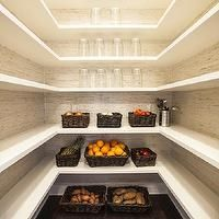Southern Living - kitchens - walk-in pantry, pantry, floating shelves, floating pantry shelves, grasscloth wallpaper, wraparound pantry shelving, wraparound floating shelves, glass canisters, woven baskets, woven storage baskets, dark hardwood floors, hardwood floors, pantry layout, pantry shelves, pantry shelving, grasscloth, pantry shelves,