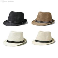 f809276347e Wholesale-2015 Hot Sale Trendy Unisex Fedora Trilby Gangster Cap For Women  Summer Beach Sun hats Straw Panama Hat Men Fashion Jazz Hats