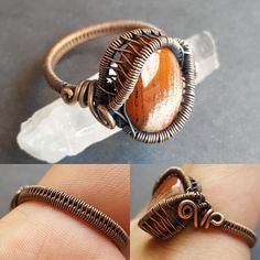 Handmade wire wrapped ring. This size 12 beauty is made out of copper and one red jasper cabochon!